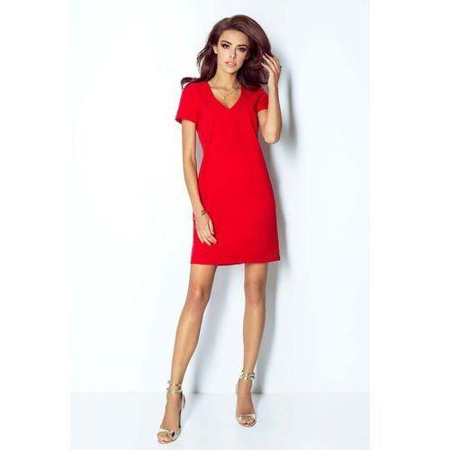 cced8ffd6a Czerwona Sukienka Trapezowa Mini z Dekoltem V