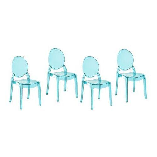 Zestaw do jadalni 4 krzesła przezroczysto-niebieskie MERTON (4260586355529)