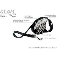 Flexi Glam Small S czarna smycz automatyczna taśma z kryształkami Swarovskiego 3m dla psów do 12kg - pająk