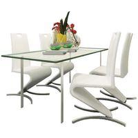 zestaw 4 krzeseł białych ze sztucznej skóry marki Vidaxl