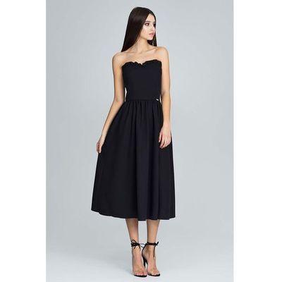 a764631da0 Czarna wieczorowa midi sukienka gorsetowa z falbankami marki Figl MOLLY