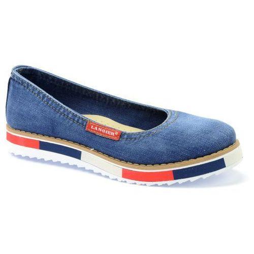 Baleriny Lanqier 40C208 jeans, kolor niebieski