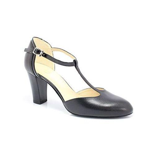 7063 czarny+czarny lakier - buty damskie doskonałe do tańca, skóra naturalna - czarny, Kotyl