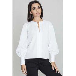 Biała bluzka koszulowa z rozcięciem przy dekolcie marki Figl