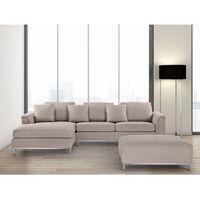 Beliani Sofa beżowa - sofa narożna p - tapicerowana - sofa z pufą - oslo
