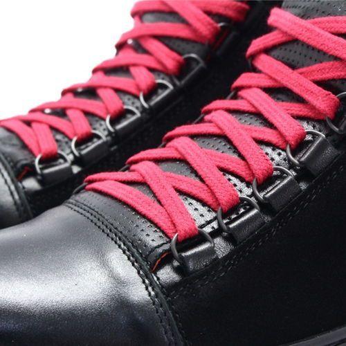 a0aa803f61e88 Kent 304 czarny+czerwony - skórzane trampki za kostkę - czerwony ||czarny -