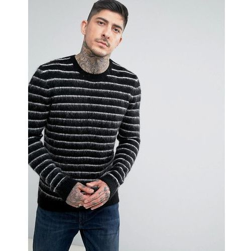 Asos mohair wool blend jumper with contrast stripes in monochrome - black