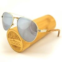 Drewniane okulary przeciwsłoneczne Niwatch Musca Silver Mirror