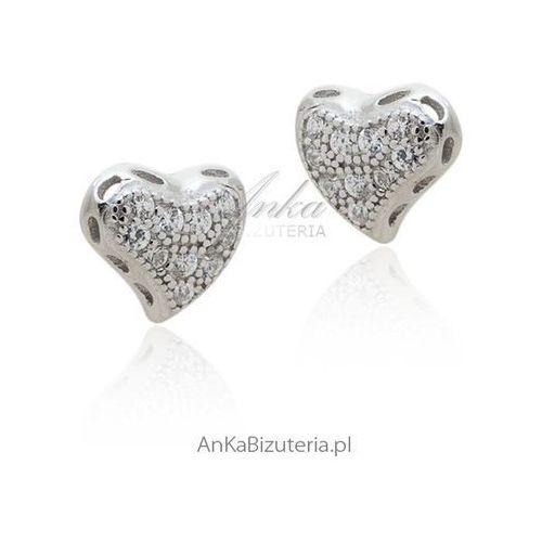 Kolczyki srebrne serduszka z cyrkoniami Anka biżuteria