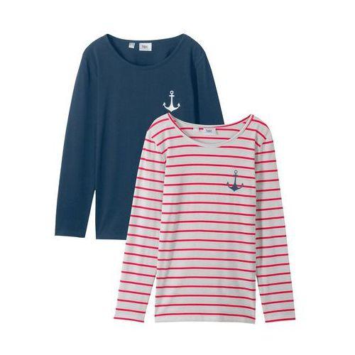 1fa1d88bffc72c Zobacz w sklepie Shirt z długim rękawem bonprix ciemnoniebiesko-biel wełny  + czerwony w paski