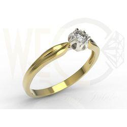 Pierścionek zaręczynowy w kształcie konwalii AP-4008ZB z żółtego i białego złota z brylantem. - 0.08 ct