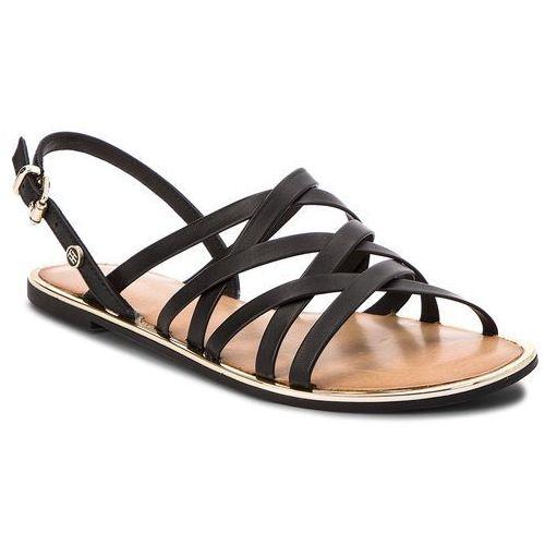 47b07a885c1ac Sandały - leather strappy flat sandal fw0fw02228 black 990 marki Tommy  hilfiger - galeria produktu