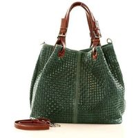 Ciemnozielona włoska torebka typu shopper - carina treccia