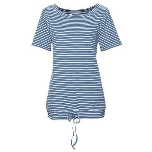 Shirt w paski, krótki rękaw bonprix niebieski dżins - biały w paski