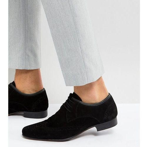 asos wide fit brogue shoes in black suede black ceny