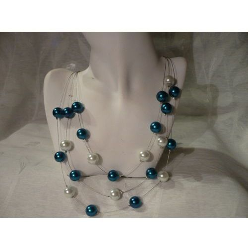 N-00039 Naszyjnik z perełek szklanych, turkusowych i białych, 24-02-13