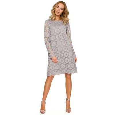 bc245846c5 Szara Wizytowa Trapezowa Sukienka z Koronki MOLLY