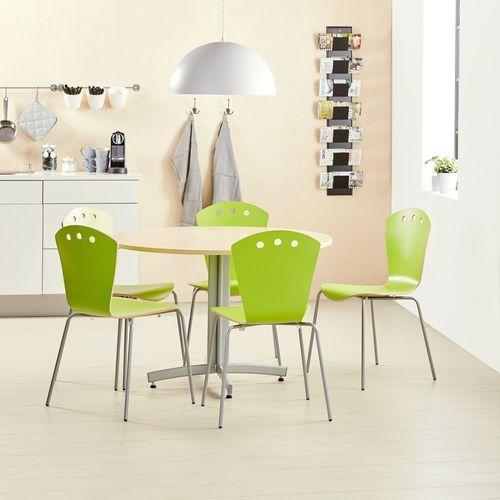 Zestaw do stołówki, stół Ø1100 mm, brzoza + 5 krzeseł, zielony/szary