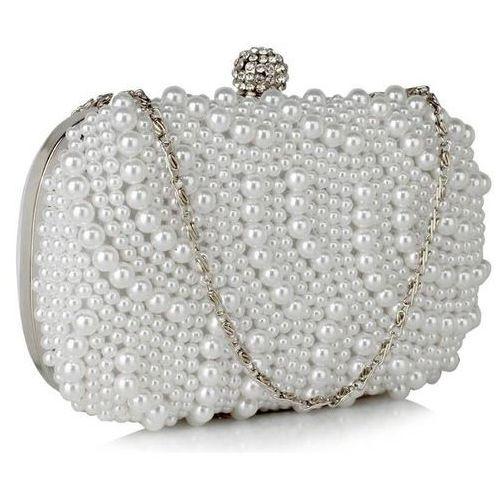 Wielka brytania Torebka wizytowa wieczorowa ślubna białe perły - biały (5057874003724)