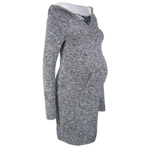 Sukienka dzianinowa ciążowa z kapturem z podszewką bonprix czarno-biały melanż, kolor szary
