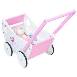 Drewniany wózek dla lalek chodzik pchacz dzieci 0+ marki Malatec