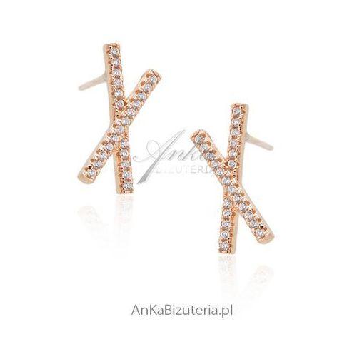 Anka biżuteria Srebrne kolczyki pozłacane różowym złotem z cyrkoniamii