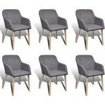 vidaXL Krzesła do jadalni z dębową ramą, 6 szt., materiał, ciemnoszare