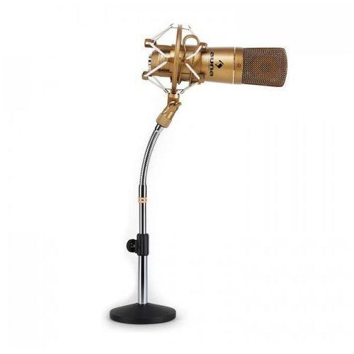 Studyjny zestaw mikrofonowy - mikrofon usb brązowy & stołowy statyw mikrofonowy marki Auna
