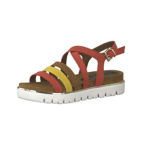 sandały z rzemykami brązowy / żółty / czerwony / biały, Marco tozzi, 36-42