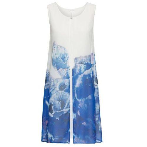 Sukienka z szyfonową narzutką w kwiaty biało-ciemnoniebieski Bonprix