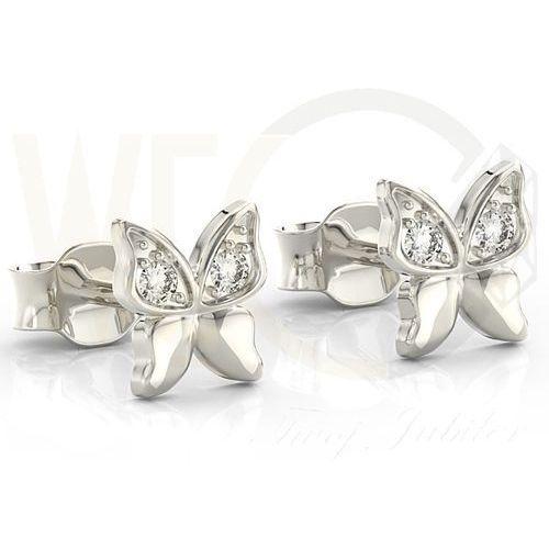 Kolczyki motylki z białego złota z cyrkoniami bpk-88b-c - białe Węc - twój jubiler