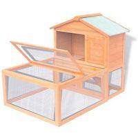 Vidaxl klatka dla królików z wybiegiem, drewniana (8718475969174)
