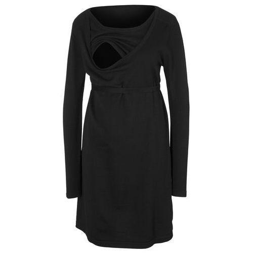 Sukienka dzianinowa ciążowa i do karmienia piersią, z wiązanym paskiem bonprix czarny