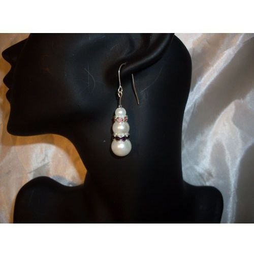 K-00052 Kolczyki z perełek szklanych białych i krązków z cyrkoniami, kolor biały