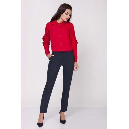 Granatowe klasyczne eleganckie spodnie w kant marki Nommo