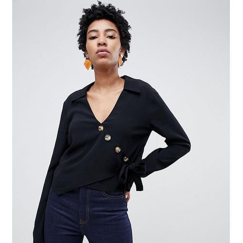 6ae459e364 ASOS DESIGN Tall wrap top with asymmetric button detail and long sleeves -  Black