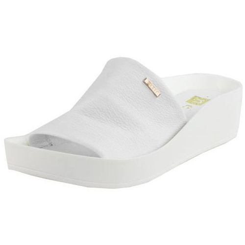 Klapki na lato białe platforma skóra licowa marki Nessi