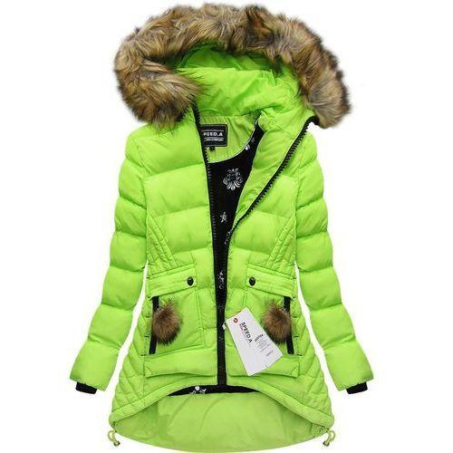 e99b9b45ceab6 Pikowana kurtka z kapturem limonkowa (w811) - żółty   zielony marki Speed.