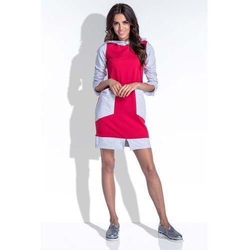 156c4750aa Zobacz ofertę Sportowa dwukolorowa czerwona sukienka z kapturem