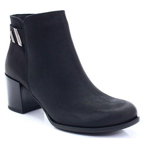 b7876cc17e2e39 Zobacz w sklepie TYMOTEO 3512 CZARNE - Wygodne skózane botki - Czarny,  kolor czarny
