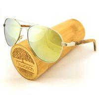 Drewniane okulary przeciwsłoneczne Niwatch Musca Light Yellow Mirror