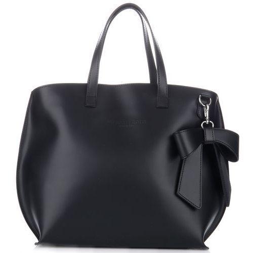 oryginalne torebki skórzane shopper z kokardką czarny (kolory) marki Vittoria gotti