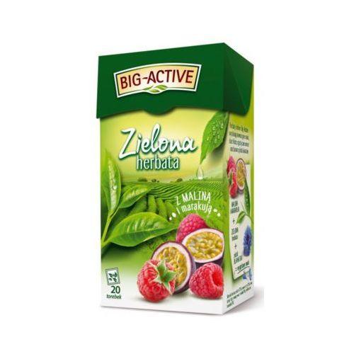 Big active 20x1,7g herbata zielona z maliną plus marakuja (20 saszetek) Big-active