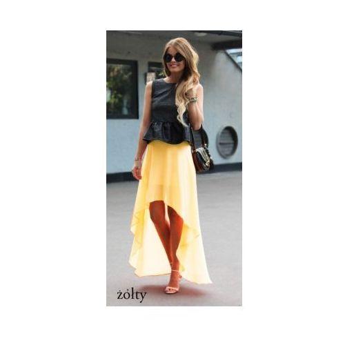 Zwiewna maxi spódnica asymetryczna szyfon żółty