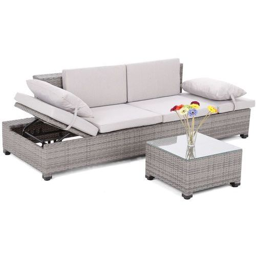 Meble ogrodowe  sofa ogrodowa z technorattanu milano 2 w 1 szary / jasnoszary + darmowy transport! marki Home&garden