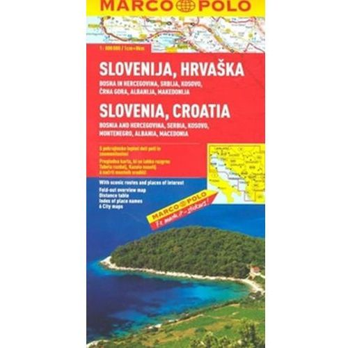 Chorwacja, Słowenia, Bośnia i Hercegowina, Serbia, Czarnogóra, Macedonia 1:800 000. Mapa samochodowa, składana. Marco Polo, praca zbiorowa