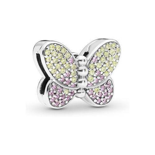 Valerio.pl Rodowany srebrny charms pandora koralik reflexions motyl butterfly cyrkonie srebro 925 bead194rh