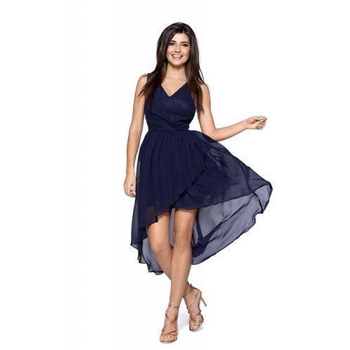 2105d84af0 Granatowa Zwiewna Asymetryczna Sukienka z Dekoltem V