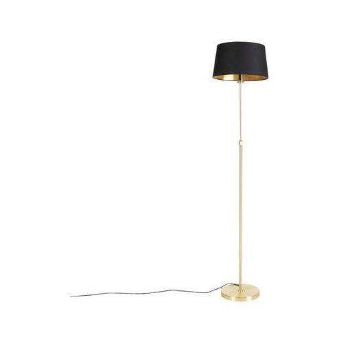 Lampa podłogowa regulowana złotamosiądz klosz bawełniany czarny 35cm parte (QAZQA)