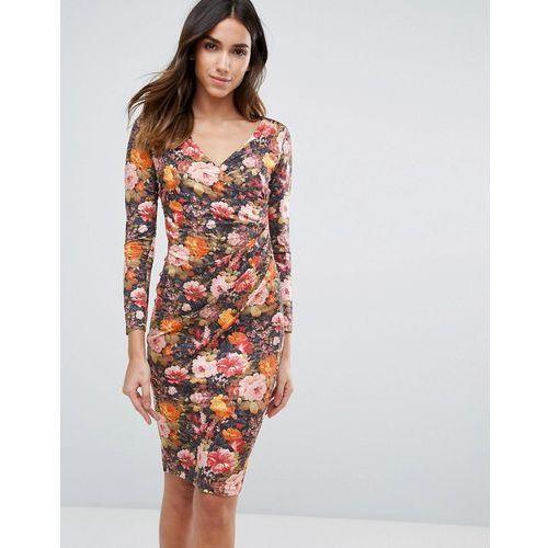 Vesper Long Sleeve Floral Dress - Orange, kolor pomarańczowy